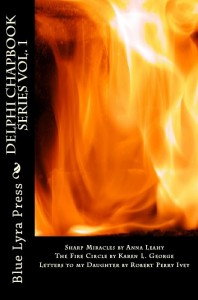 book cover for first edition of sharp miracles in delphi series volume 1 featuring photo of flames