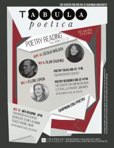 tabula poetica flyer for 2016 reading series featuring Cecilia woloch, Alan Shapiro, and Elaine lipkin