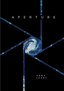 book cover for aperture featuring a blue and white celestial object formatted in the shape of a camera aperture against a black background
