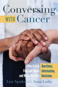 book cover for conversing with cancer featuring hands of a physician holding a patient's hand