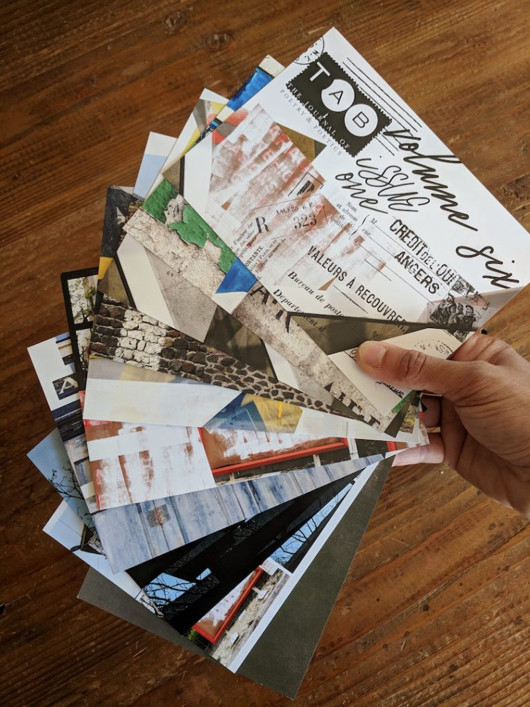 Tab Journal print issue postcards fanned