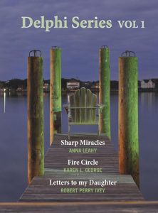 book cover for delphi series volume 1, including sharp miracles; the view looks down a wooden pier at a deck chair and across the water to the other shore