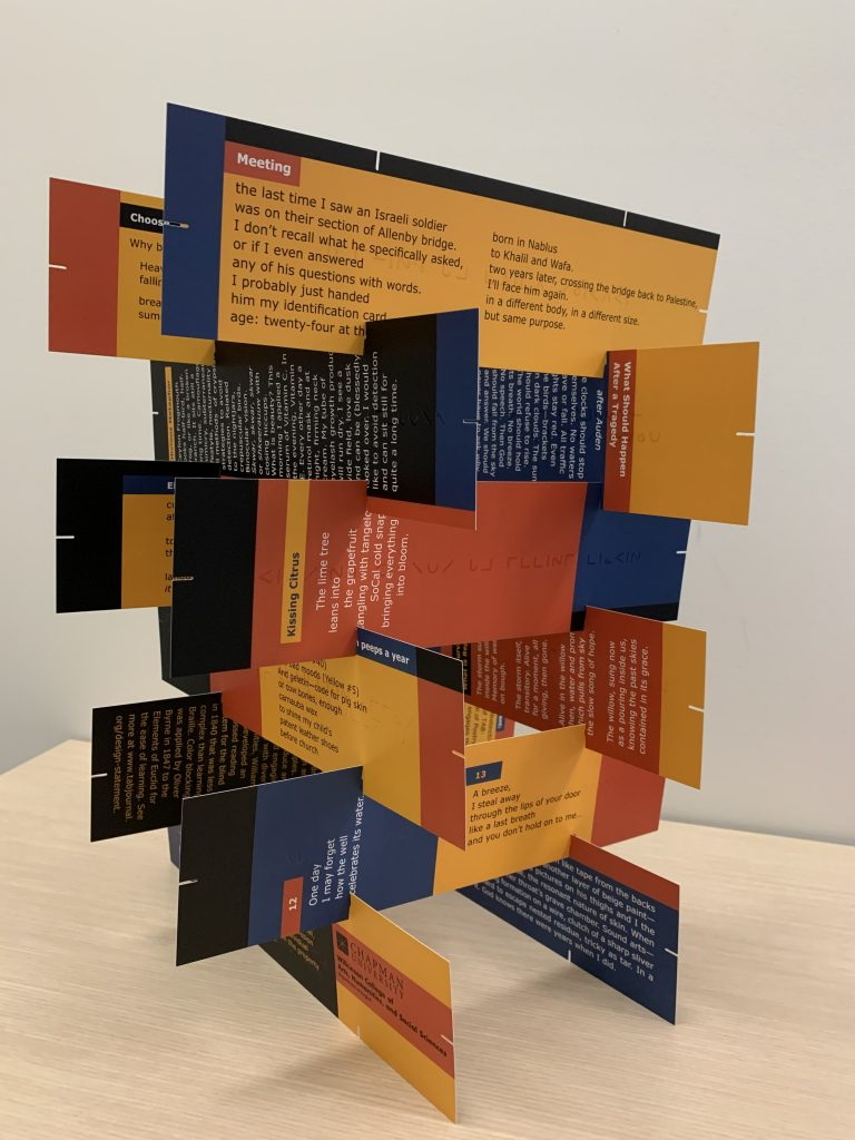 Tab Journal print issue cards stacked into a tower