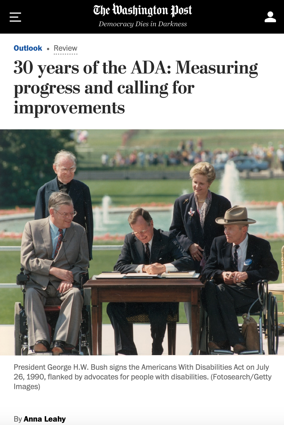 The Washington Post, 30 Years of the ADA, with photo of President George Bush and four others at table for bill signing